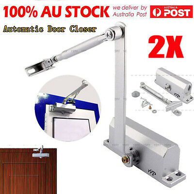 2Pcs Adjustable Auto Door Closer Fire Rated 25~45KG Home Automatic AU STOCK