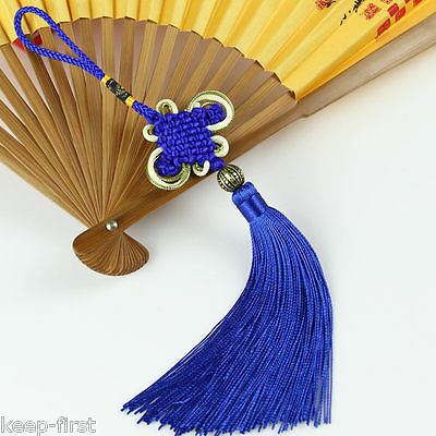New Royalblue Tassels Chinese Knot Hanging Decoration for Auto Car Decor 11''
