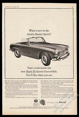 1965 Austin Healey Sprite Mark III Sports Convertible car UK vintage print ad