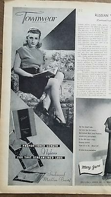 1946 women's nylons stockings Hosiery that streamlined look by TOWNWEAR ad