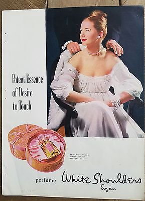 1946 EVYAN white shoulders perfume bottle desire to touch fragrance ad