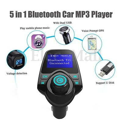 Bluetooth Car FM Transmitter Wireless Radio Adapter USB Charger AUX Mp3 Player