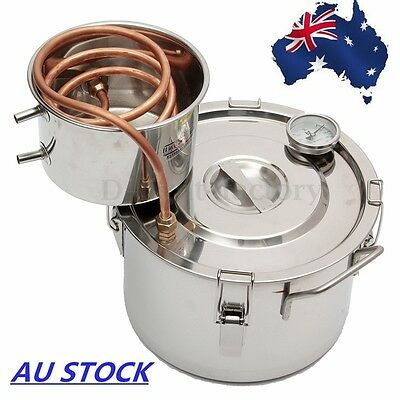 AU 2GAL 8L Copper Moonshine Ethanol Alcohol Water Distiller Stainless Boiler