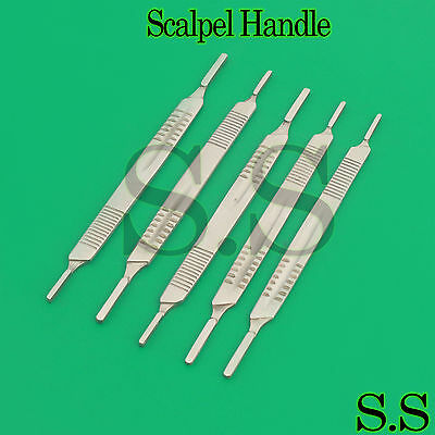 NEW 5 Surgical Scalpel Blade Handle Holder #3 & #4 two in one fits on all blade