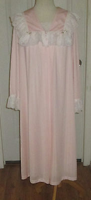 Vtg. Shadowline Pink 2 Pc. Nylon Robe And Nightgown  Lots Of Lace  Sz.m