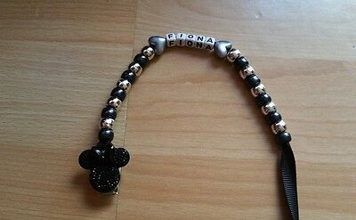 Baby Girl Black Bling Minnie Mouse Personalised Dummy Saver Holder Clip