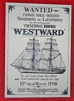 """Reproduction Antique 18th Century """"WANTED WESTWARD"""" Naval Recruitment Poster"""