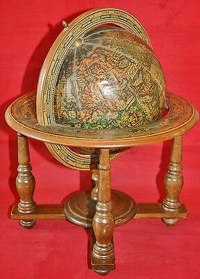 Vintage 1970's Wooden Italian Zodiac Old World Antique Style Desk Globe Ornament