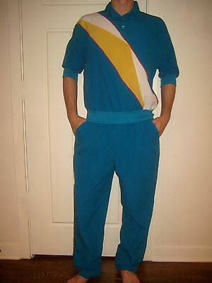 Vtg 80s CORTIVA Teal Womens LARGE Windbreaker Jacket Shirt TRACK SUIT Pants set