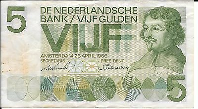 1966 Netherlands 5 Gulden De Nederlandsche Bank Amsterdam 4MH099728 Circulated