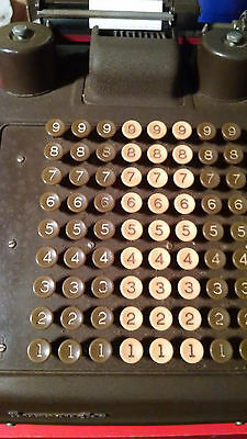 Burroughs Vintage Crank Adding Machine Works Has Cover And Rubber Pad Extra Roll