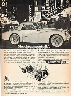 1960 Triumph TR3 GT with Hard Top Sports Automobile Car Vtg Print Ad