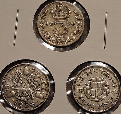 British Silver Threepence - Type Set of 3 -1920/1934/1940- $1 Unlimited Ship-O28