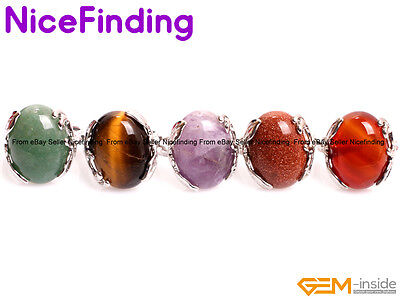 Natural Gemstone Silver Plated Protection Rings Fashion Jewelry For Women Gifts