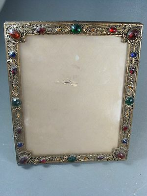 """Antique Ormolu Jeweled Picture Frame 10 1/2"""" Easel Back"""
