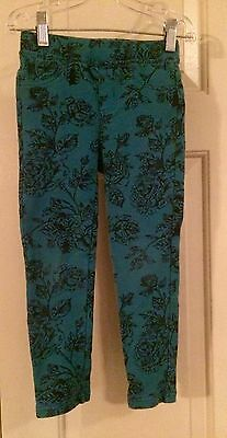 Tea Collection Size 5 Blue Navy Skinny Minny Floral Pants