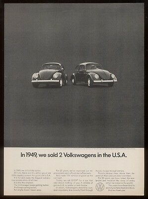 1970 VW Volkswagen Beetle 1949 car photo vintage print ad