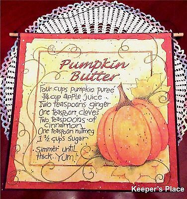 Pumpkin Butter Recipe Canvas Wall Hanging Fall Country Decor Wire Hanger New