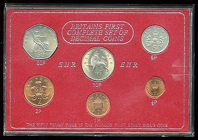 Great Britain First Complete Set of Decimal Coins:  6-Coin Set