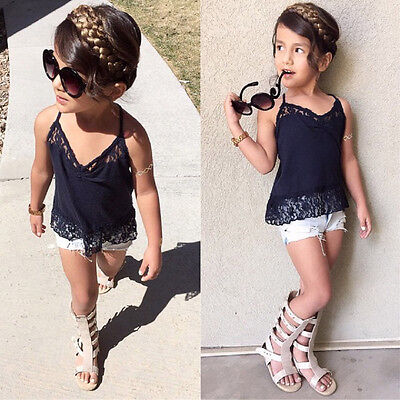 Toddler Baby Girl Lace T-shirt Tops Demin Shorts Pants Clothes Set Outfits