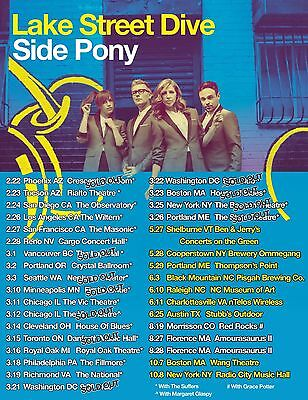 "LAKE STREET DIVE ""SIDE PONY"" 2016 USA CONCERT TOUR POSTER-Pop, Indie, Jazz Music"