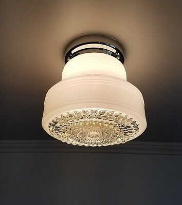 Vintage White & Clear Glass Ceiling Light Fixture With Chrome Kitchen Hall Porch