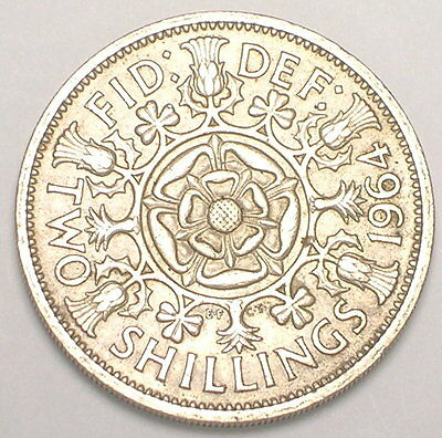 1964 UK Great Britain Two 2 Shillings Double Rose Coin VF+