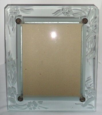 Vtg 1920s Art Deco Beveled Glass PICTURE Photo Easel FRAME Etched Flowers 14x12