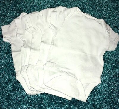 5 White Short Sleeve Next Bodysuits Up To 1 Month