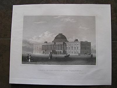 """1851 ORIGINAL View of """"Capitol of the United States, Washington, D.C."""""""