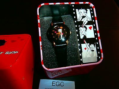 Red Betty Boop Watch! Vintage 2007 KFS/FS Black Band/Black Face/ Betty Red Dress