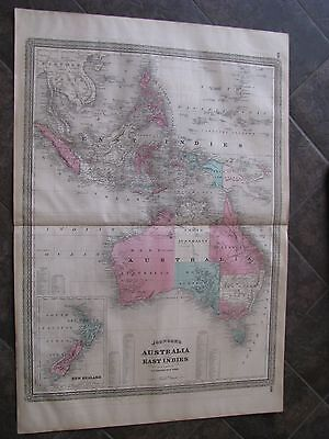 1867 ORIGINAL Huge Map of Australia, East Indies, New Zealand
