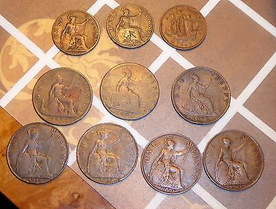 Lot of 10 Old English Pennies and Half Pennies, 1881-1943