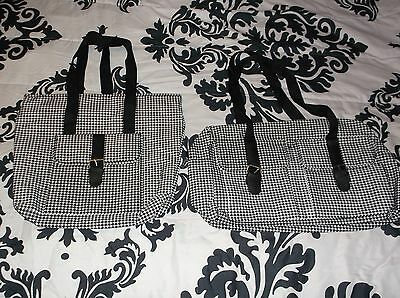 Lot of 2 NWD Black White Houndstooth Tote Bags