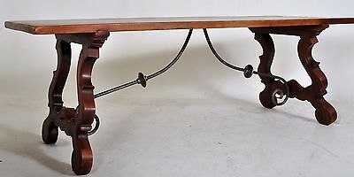 Antique Spanish carved Baroque dining refectory table walnut & iron circa 1830
