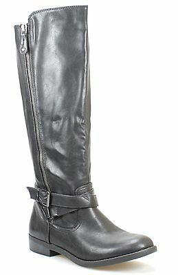 Report NEW Black Shoes Size 7.5M Harmoni Zip Up Knee-High Boots $80- #788