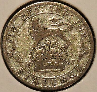 British Silver Sixpence - 1927 - King George V - $1 Unlimited Shipping