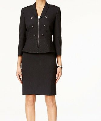 Tahari By ASL NEW Black Pinstriped Women's Size 4 Skirt Suit Set $280 #259