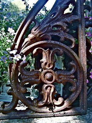 Two Fabulous Large Garden Corbels Heavy Iron Gothic Medieval Cathedral Brackets