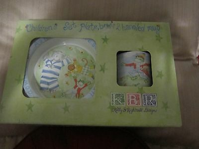 Kelly B Rightsell Childs Dinner Set Plate Bowl Cup - RING AROUND THE ROSES NEW