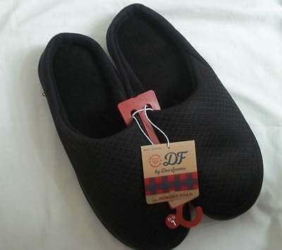 Dearfoams Mens Black Memory Foam Slippers Shoes Large (11-12)  NEW WITH TAG