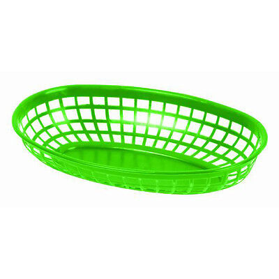 "6 PC Plastic Fast Food GREEN Commercial Baskets Tray 9-3/8"" Oval PLBK938G"