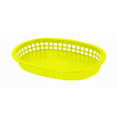 "4 PC Large Plastic 10-3/4"" Fast Food Basket Baskets Tray YELLOW PLBK1043Y"