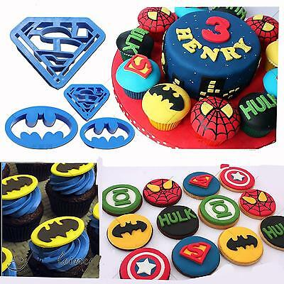 4pcs Batman Superman Molds Biscuit Cookie Cutters Cupcake Decorating Tools LG