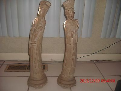 "Asian Antique hand-carved KING & QUEEN STATUES  24"" TALL 6"" BASE"