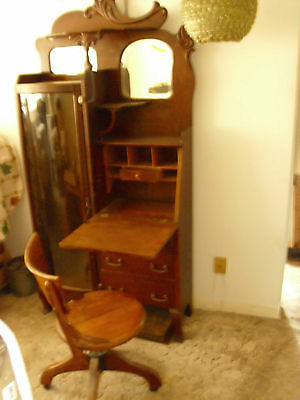 SECRETARIES DESK OAK ANTIQUE LATE 1800 TO EARLY 1900's WITH CHAIR
