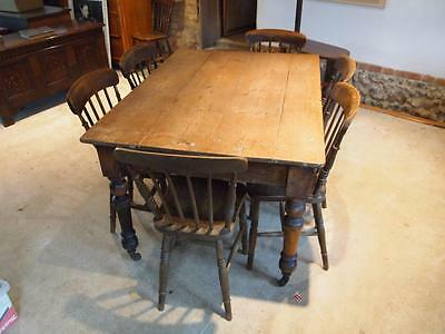 Table Victorian Pine scrub top dining table c1880