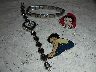 Lot Betty Boop Stainless Steel Link Bracelet Pins Heart Watch (crystal cracked)