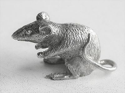 Vintage Miniature 925 Sterling Silver Charm Rat Figure