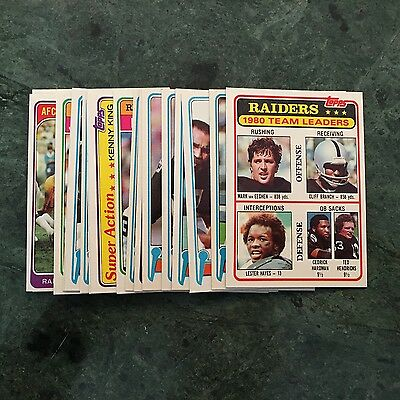 """1981 Topps Oakland Raiders """"Hign-End"""" TEAM SET w/ Rookie Cards"""